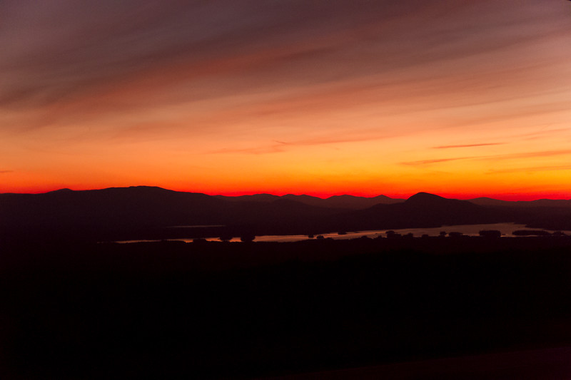 View of the sunset from the Attean Pond rest area on Route 201, near Jackman, ME.