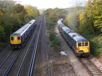 A service train passes the tour