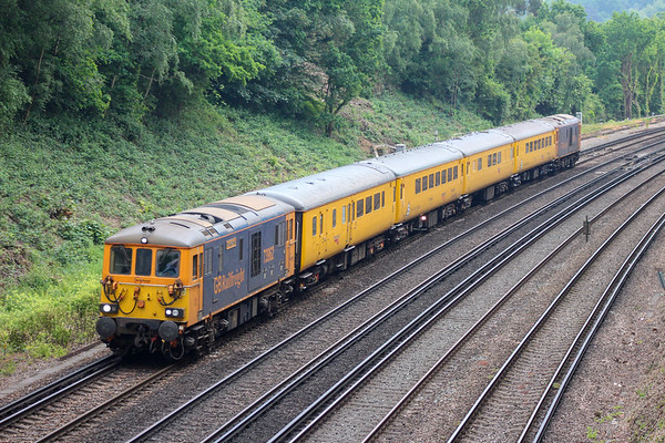 73 PLPR test train depart Haywards Heath P1 thanks to the Brighton Mainline's bi-directional signalling.