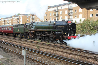 With a blast from the cocks, Oliver Cromwell pulls away bound for East Grinstead and the Bluebell