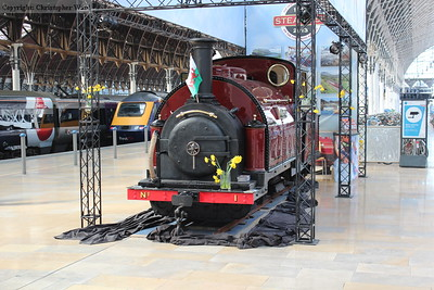 Bit of a cheat for steam at a London terminal, 1 Princess from the Ffestiniog Railway on display at Paddington