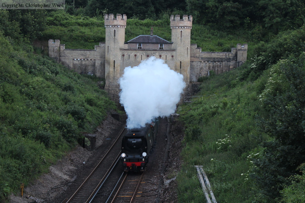 Tangmere bursts from the castellated northern portal of Clayton Tunnel in the fading light