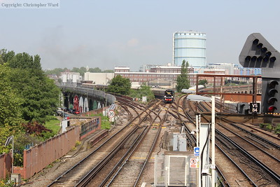 Tangmere, having taken over a tour to Canterbury at Willesden, climbs up through Factory Junction