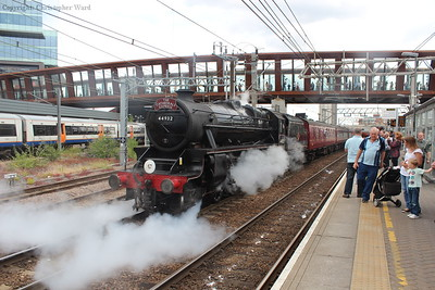 The Black Five gets going, unfortunately not for much further as the diesel on the rear took over from Willesden with the steam engine suffering from cylinder trouble