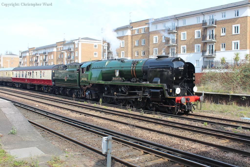 With barely a whisper of steam, Braunton sets off from Olympia