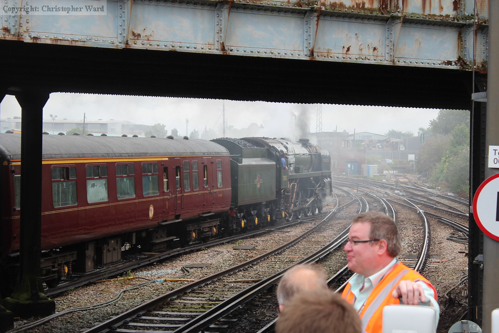 Oliver Cromwell pulls out under the bridge, shortly to diverge toward Dorking