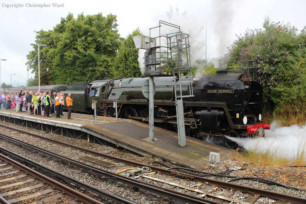 Oliver Cromwell pulls away from platform 1