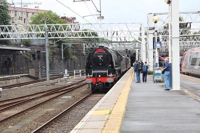 46233 Duchess of Sutherland runs in, having run non-stop from Birmingham New Street