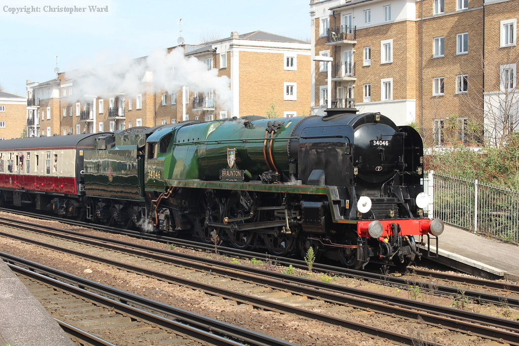 34046 arrives at Olympia with the tour from Solihull, which she had taken over at Hanwell