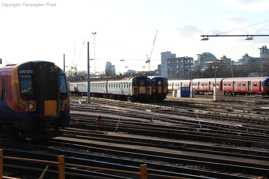 The Bluebell's 4VEP sits in Clapham yard