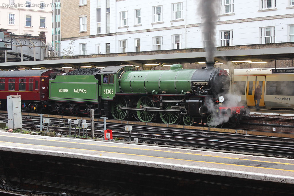 The recently mainline-certified B1 on her first departure from London for many years