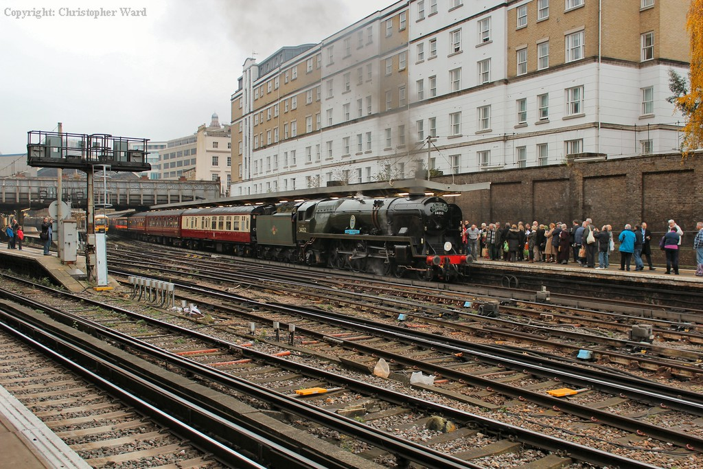 With late tinges of autumn to be seen, the Bulleid waits time for the run to Bristol