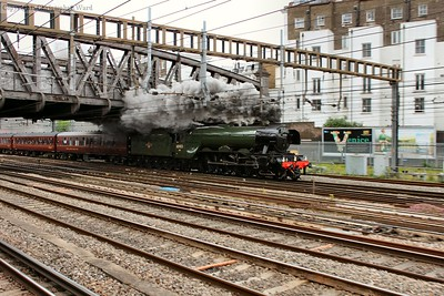 Flying Scotsman bursts out from under the bridge