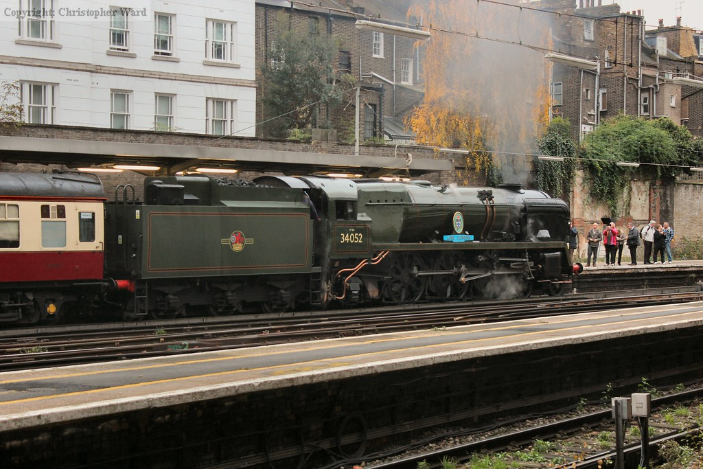 The Bulleid light pacific on a murky and misty morning at Victoria