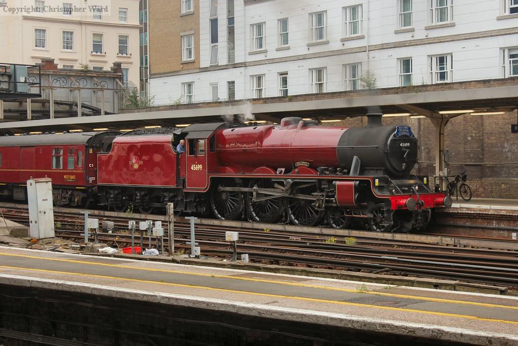 The LMS machine prepares to take the train to the south coast
