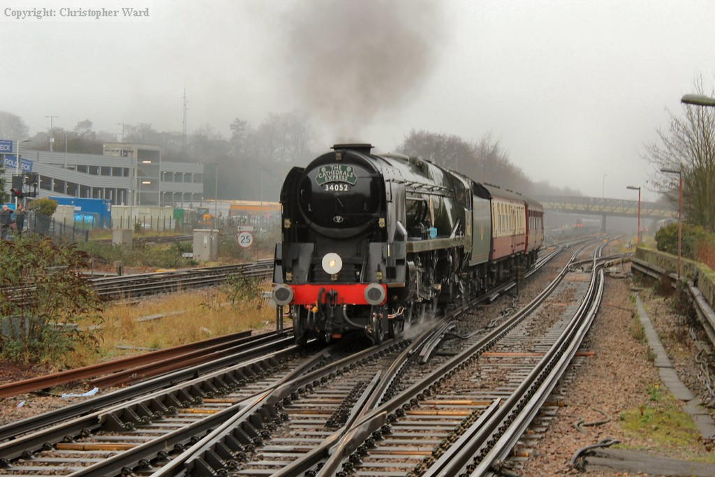 Clearing the junction, the Bulleid about to be opened up through the station