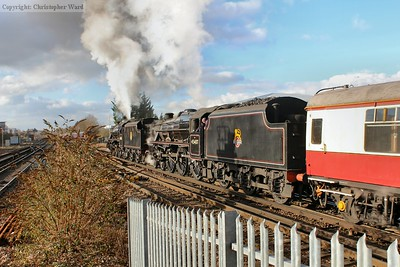 45407 adds to the muscle power to get the train underway