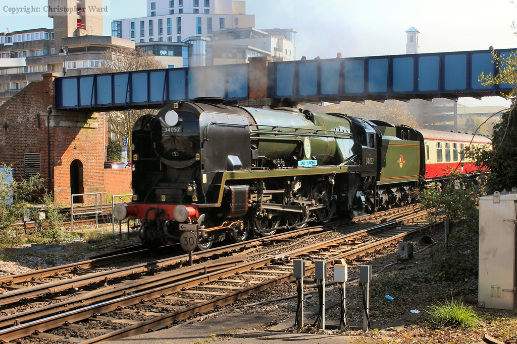 A light pacific on a Weymouth train pulling into Southampton, a scene that would have been common 50 years ago