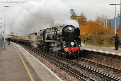 Clan Line runs fast through Basingstoke and prepares to take the West of England line