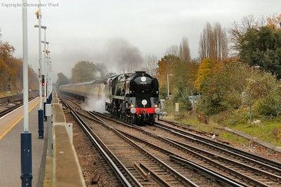 Clan Line approaches Woking on her outward run