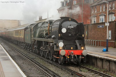 The Bulleid unusually heading toward London at Woking