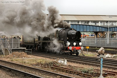 The Merchant Navy leaves a smokescreen over Britain's busiest station