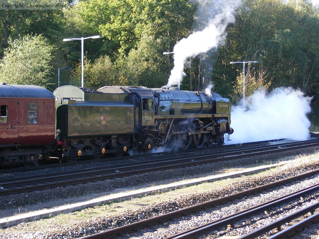 Steam billows from the cocks at the front