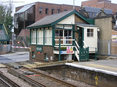 The old signal box at Reigate, still in use