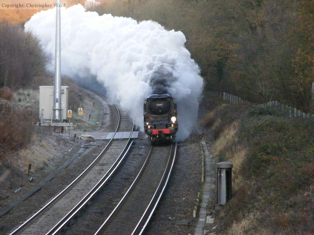 Tangmere working hard with a heavy train