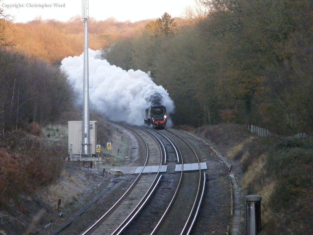 34067 slogs up the gradient from the exit of Balcombe tunnel
