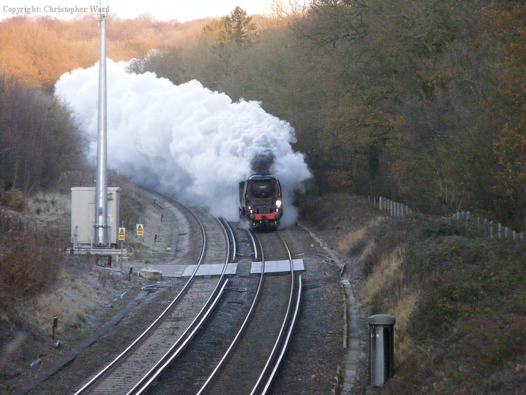 34067 powers uphill on a frosty morning