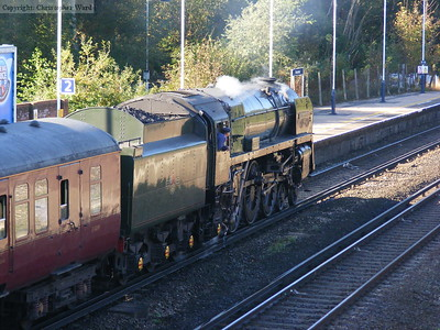 Oliver Cromwell draws into the station