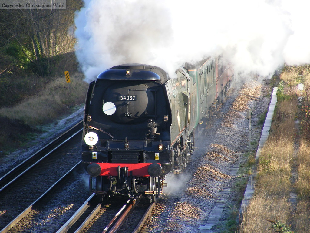 A Bulleid Pacific on the south coast on a frosty morning. What could be better?