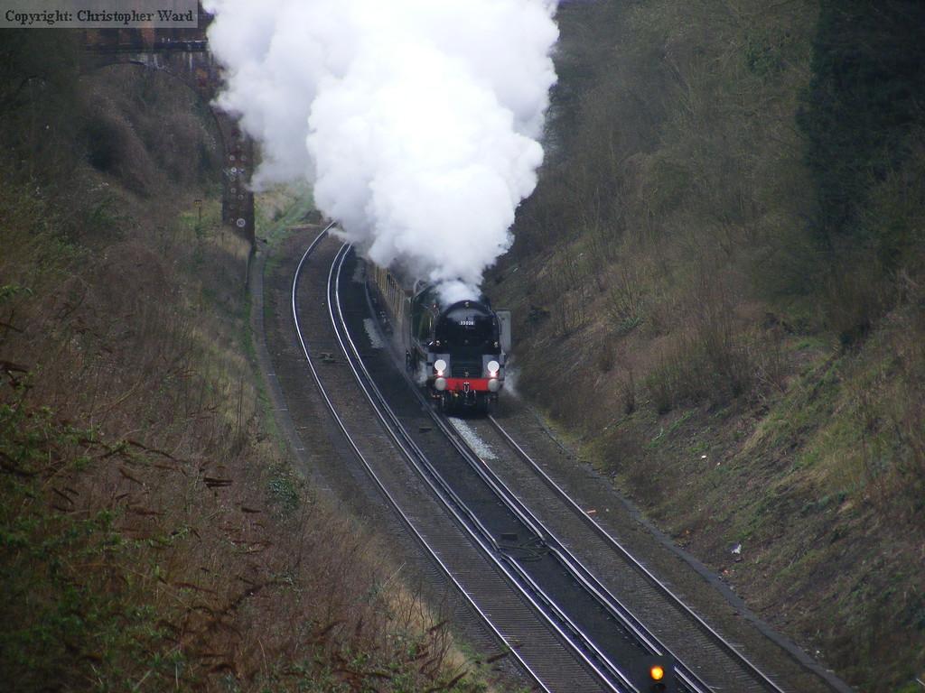 35028 runs through the cutting at Hooley