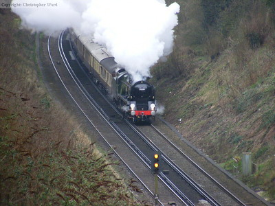 Clan Line gets to grips with the bank on the approach to Merstham tunnel