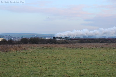 Leaking steam from the cocks, Tangmere accelerates across the valley