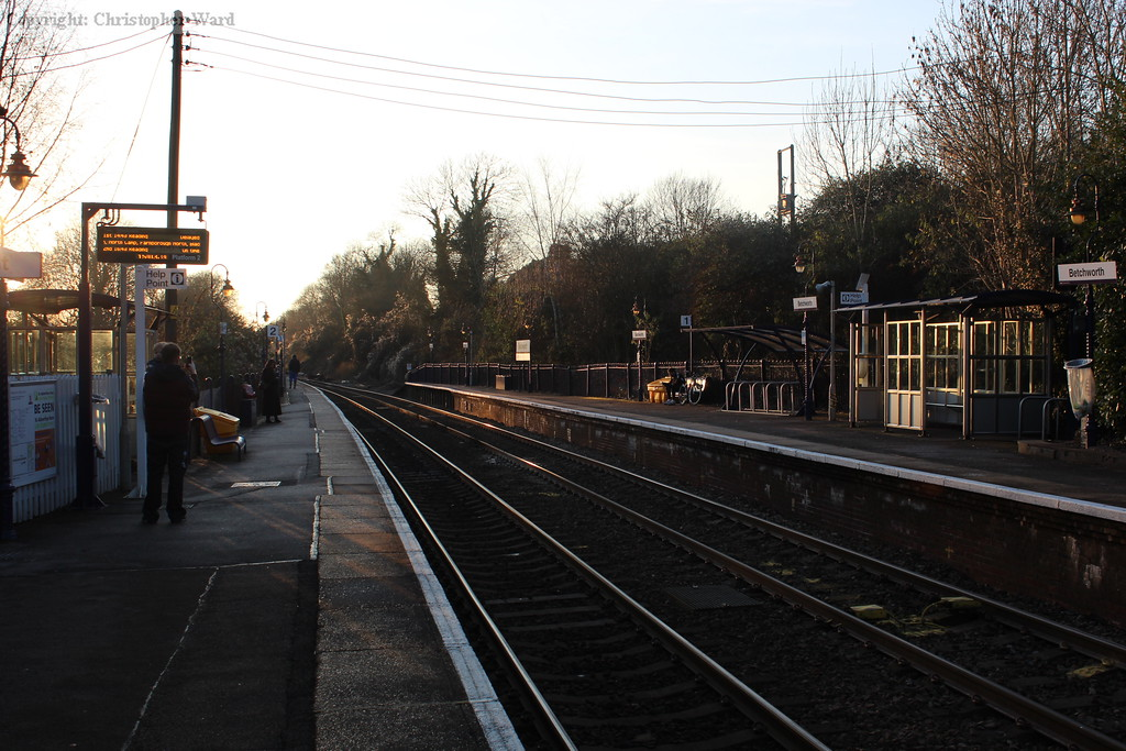 The station at Betchworth in the still evening air