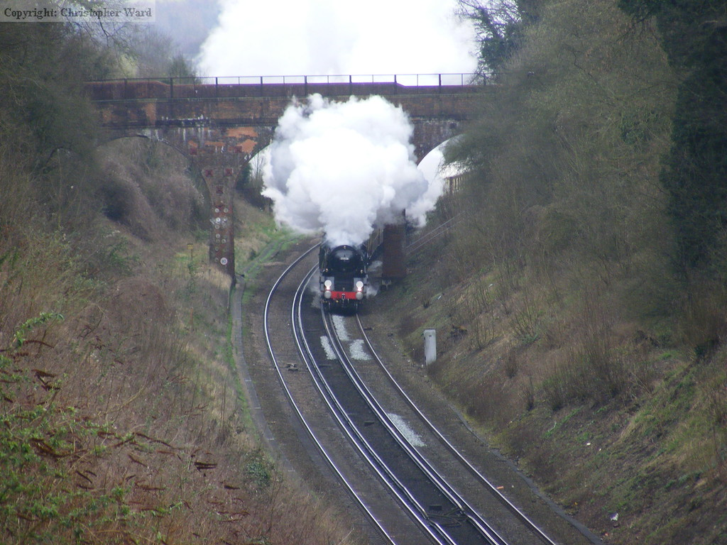 35028 brings her train over the M25 on the return leg of the tour