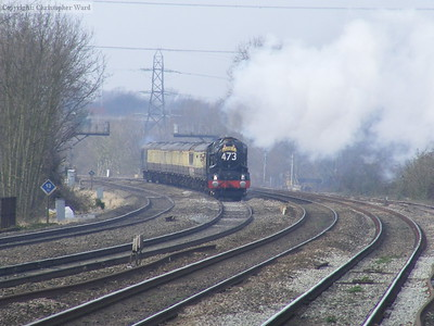 The King on the fast line runs approaches West Drayton at speed with the up Bristolian