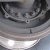 """Tag axle brake shoe lining at 32,828 miles.  There remains plenty of meat on the shoes (about 1"""").  This is very close to where the other linings are at.  Many more good miles left on the brakes."""