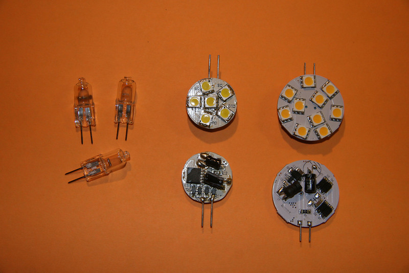 Incandescent, 6 segment LED and 10 segment LED (left to right).  These are all G-4 base style.  LEDs are side pins and will only mount in certain fixtures.  The 10 watt incandescent lamp draws 830 mA in comparison to 150 mA for the LEDs.  LEDs run cool and provide significantly more light.  There are differences, however.
