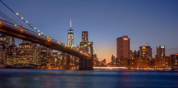 Sunset via the Brooklyn Bridge