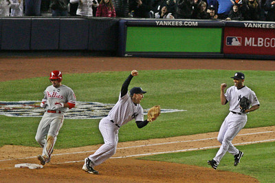 LP-09-1966-33-crop copy  Mark Texeira and Mariano Rivera begin to celebrate winning the 2009 World Series, the 27th in New York Yankees history.