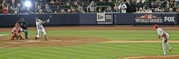 Derek Jeter hits a ground rule double to lead off the 5th inning off Chad Durbin.  LP-09-1956-16-pano copy