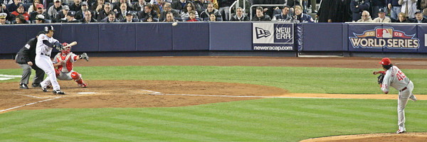 Hideki Matsui connects off Pedro Martinez for a 2 run single in the 3rd inning.  LP-09-1954-29-pano copy