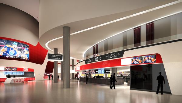 Edmonton's downtown arena, interior view of the concourse