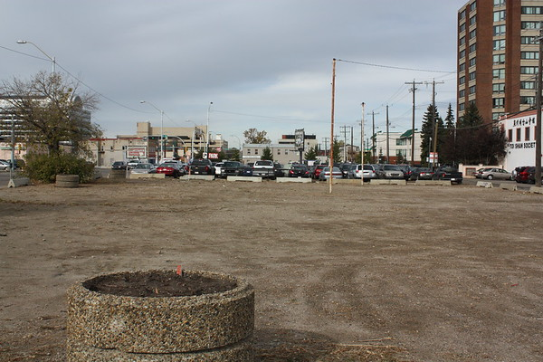 Empty lot before development of Hyatt Place, facing North