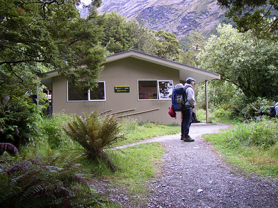 Shaggy at Routeburn Flats hut, where we stopped for a lunch break