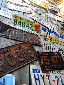 License plates near Geddy's where we went to eat and wait for low tide