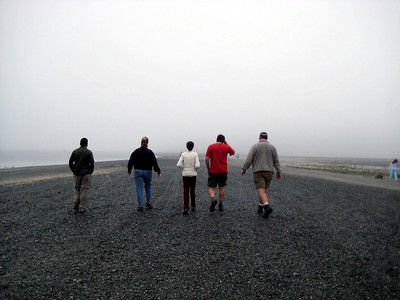 Low tide also brought fog, but we walked out to Bar Island anyway